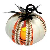 Haunted Living Pumpkin Candle with LED Light - Metal/Plastic
