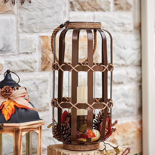 Lanterne décorative antique Harvest Living, métal, 52 po