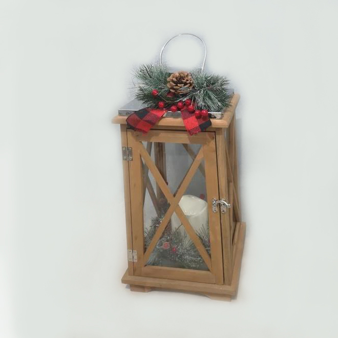 Holiday Living Lantern with Ribbon - Wood