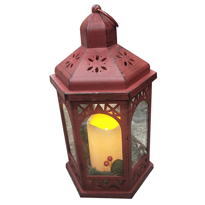 Lantern with Candle - LED - Red
