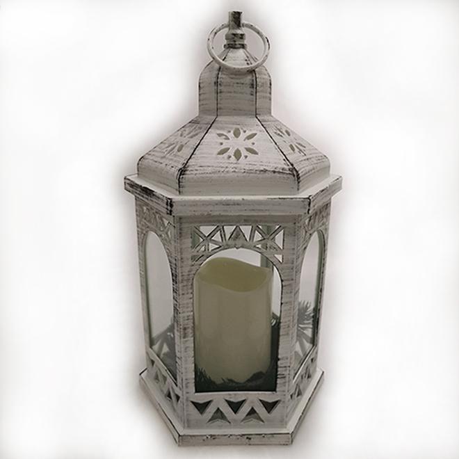 Lantern with Candle - LED - White