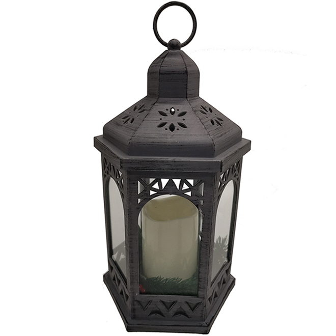 Lantern with LED Candle - Grey