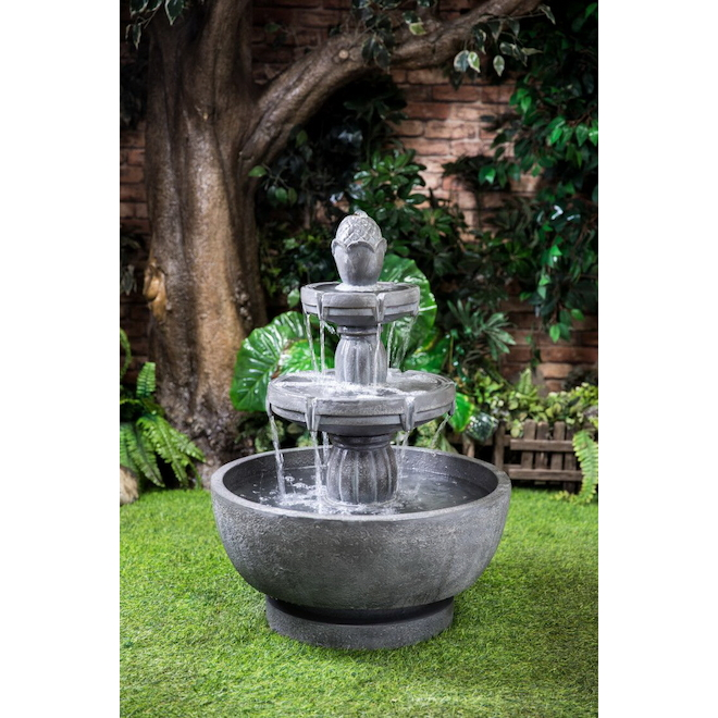 Style Selections Infinity 21.85-in H Resin 3-Tier Outdoor Fountain with Bowl - Grey