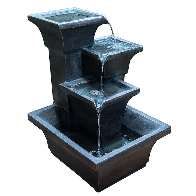 Infinity 4-Tier Outdoor Fountain - 32.68-in - Resin - Black