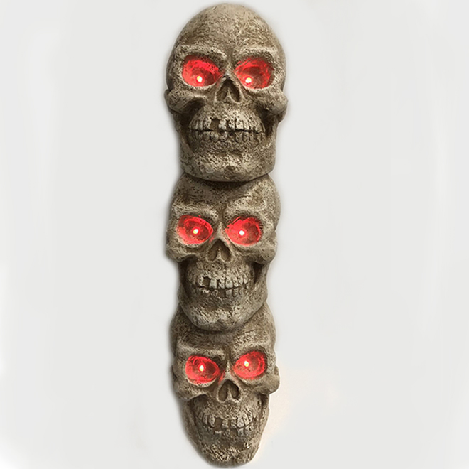 Infinity 40-in Battery-Operated Stacked Skulls with Red LED Lights