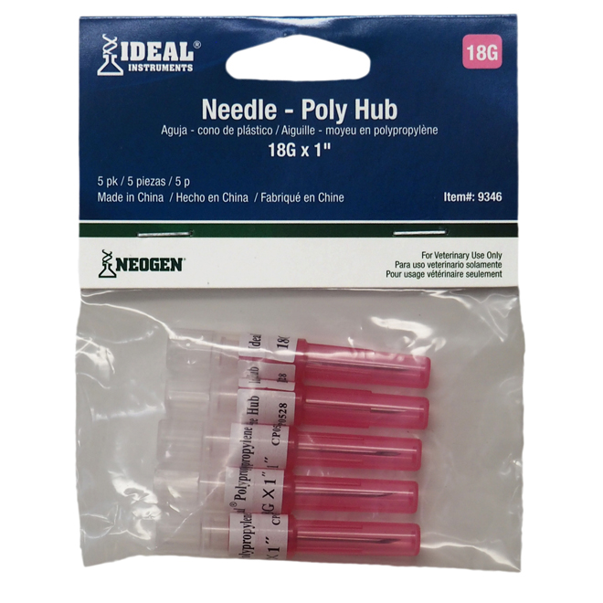 """Disposable Needle - Stainless Steel - 18 G X 1"""" - 5/Pack"""