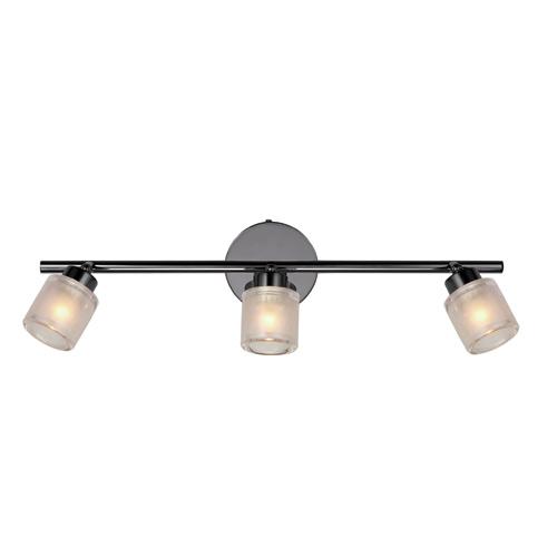 Rail d'éclairage à 3 lumières Laidy d'Uberhaus, ampoules G9 40 W, fini bronze, abat-jour en verre opale