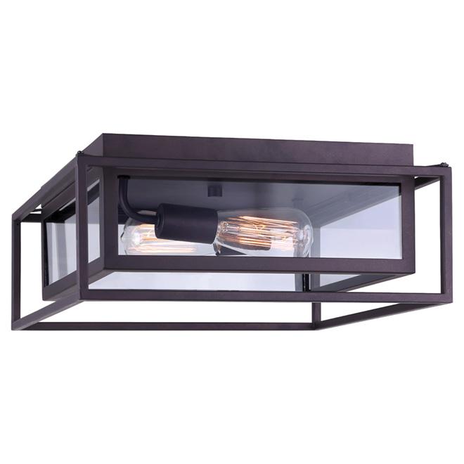 Plafonnier affleurant Canarm, 60 W, séjour, verre transparent