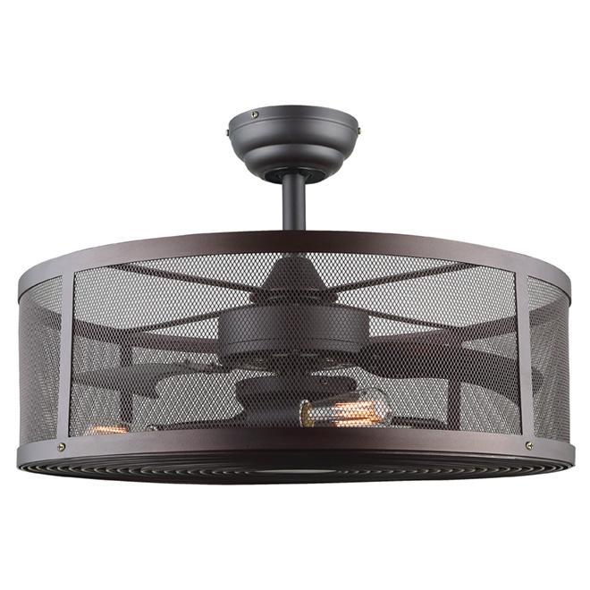 Ceiling Fan with 3 Lightbulbs - 60 W - Oiled Bronze