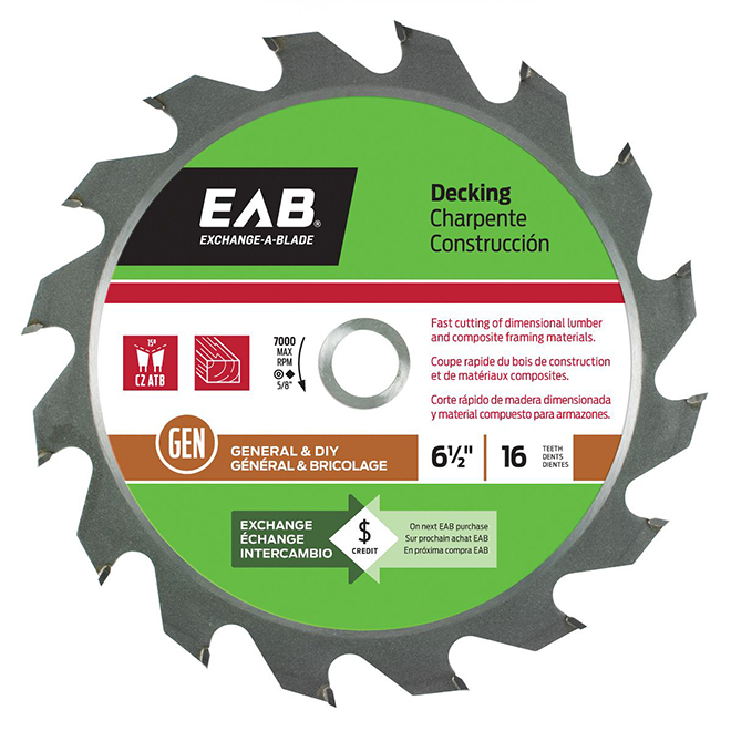 EAB Exchangeable Saw Blade - Carbide Tipped - 6 1/2-in dia - 16 Teeth - 1 Per Pack