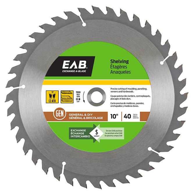"""Lame de scie au carbure EAB Tool pour étage/res, 10"""" x 40 dents, échangeable"""