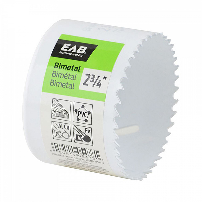 EAB Recyclable and Exchangeable Industrial M3 Hole Saw - 2 3/4-in Dia - 1 5/8-in Cutting Depth - Bi-Metal - Non-Arboured