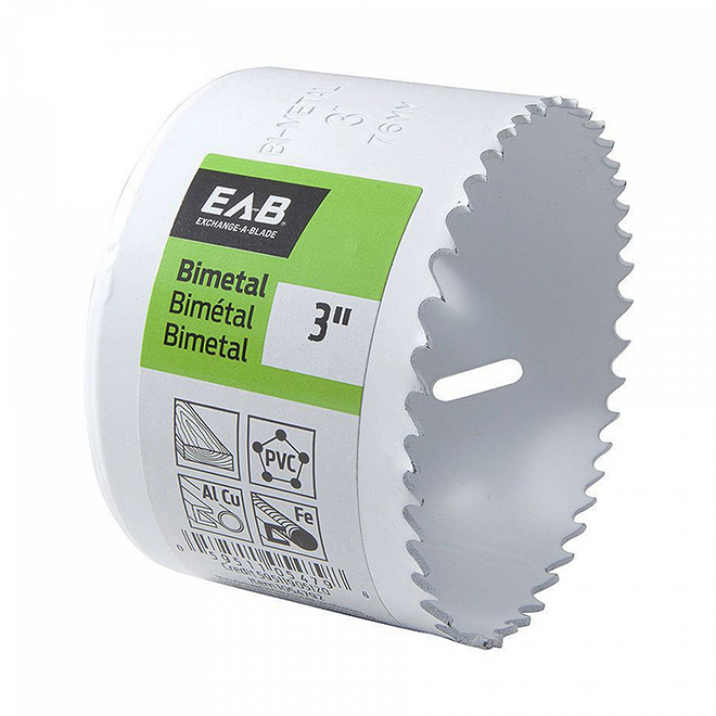 EAB Recyclable and Exchangeable Industrial M3 Hole Saw - 3-in Dia - 1 5/8-in Cutting Depth - Bi-Metal - Non-Arboured