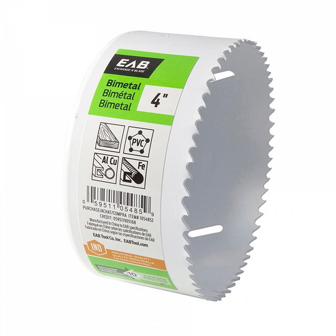 Scie-cloche industrielle qualité M3 recyclable et échangeable EAB, 4 po dia, coupe 1 5/8 po p., bimétal, sans arbre