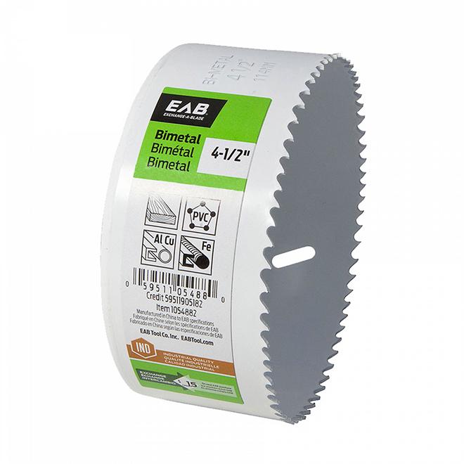 Scie-cloche industrielle qualité M3 recyclable et échangeable EAB, 4 1/2 po dia, coupe 1 5/8 po p., bimétal, sans arbre