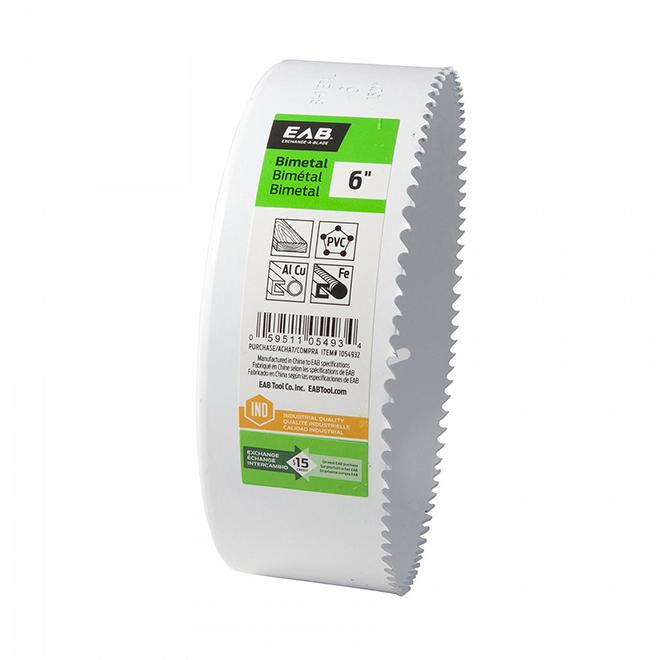 Scie-cloche industrielle qualité M3 recyclable et échangeable EAB, 6 po dia, coupe 1 5/8 po p., bimétal, sans arbre