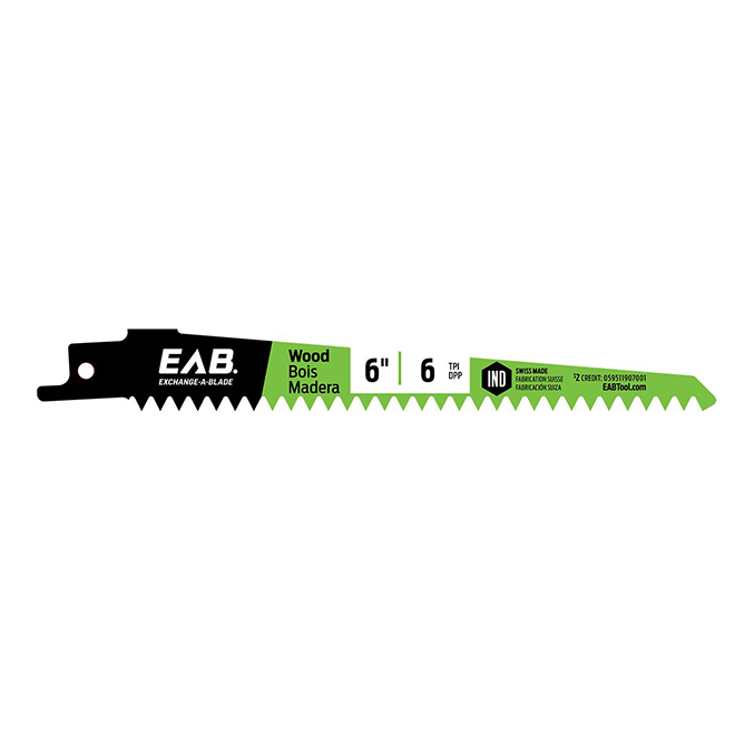 "EAB Tool Bimetal Wood Industrial Reciprocating Blade - Exchangeable - 6"" x 6 TPI"