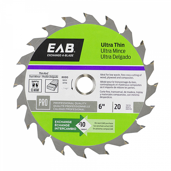 "EAB Tool Carbide Ultra Thin Professional Saw Blade - Exchangeable - 6"" x 20 Teeth"