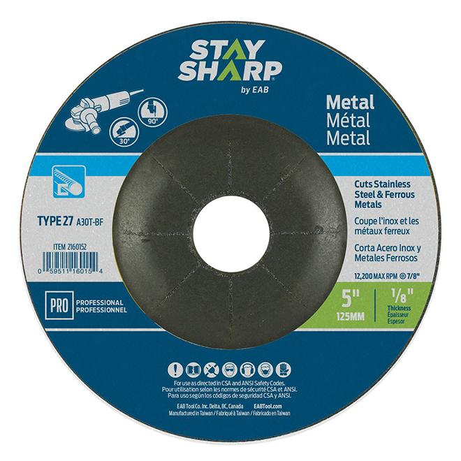 EAB Stay Sharp Professional Metal Grinding Flat Wheel - 5-in Dia x 1/8-in T - 7/8-in Arbor - Type 27