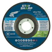 "EAB Tool Ultra Thin Metal Depressed Center Wheel - Type 27 Industrial Abrasive - 4 1/2"" x 3/64"" x 7/8"""