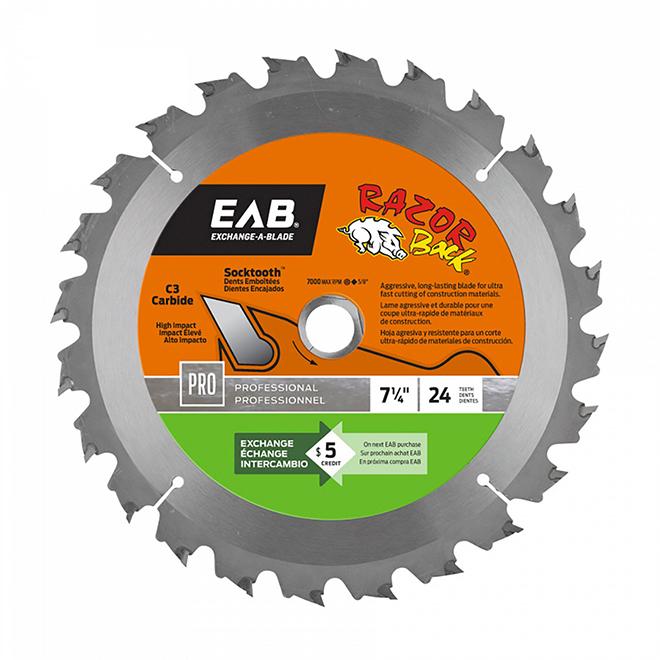 EAB Razor Back Saw Blade - Heavy-Duty - 7 1/4-in - 24 Tooth - 27° Cutting Angle