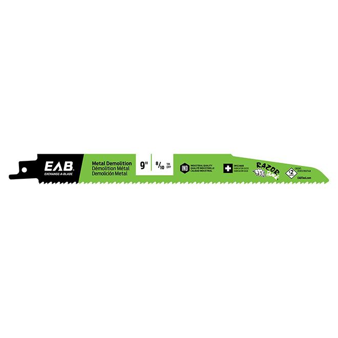 """Lames de scie alternative EAB Tool bimétal Razor Back(MD), métal et démolition, industriel, recyclable, 9"""" x 8/10 DPP"""
