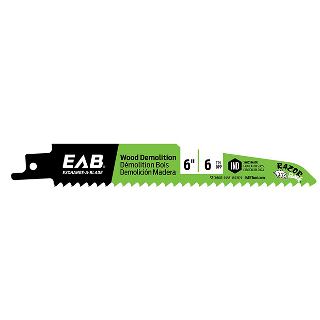 "EAB Tool Bimetal Razor Back(R) Wood and Demolition - Industrial Reciprocating Blade - Exchangeable - 6"" x 6 TPI"