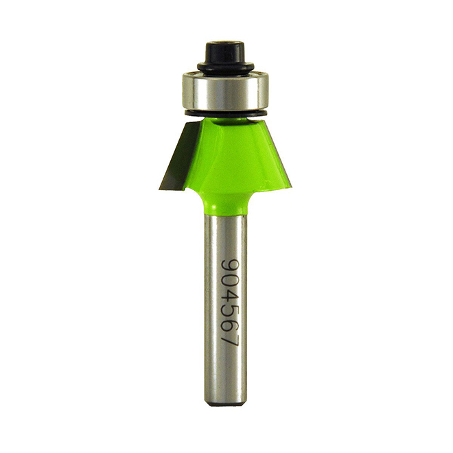"""EAB Tool Bevel Trim Professional Router Bit - 1/4"""" Shank - 22° Angle - Exchangeable"""