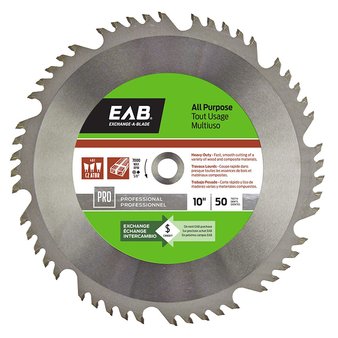 EAB All-Purpose Saw Blade - Carbide - 10-in Diameter - 50 Tooth