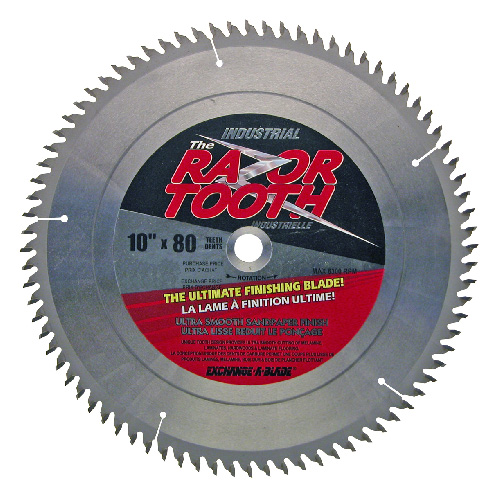 EAB RazorTooth Pro Industrial Saw Blade - Carbide - 10-in Dia - 80 Tooth