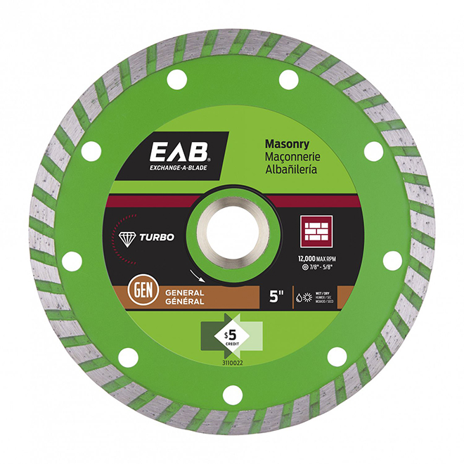 EAB Green Turbo Diamond Circular Saw Blade - Alloy Steel - 4-in Dia - 5/8-7/8-in Arbour
