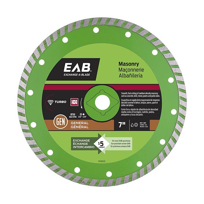 EAB Green Turbo Diamond Circular Saw Blade - 7-in Dia - 5/8-7/8-in Arbour