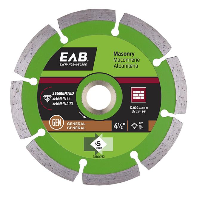 EAB Green Diamond Segmented Circular Saw Blade - Alloy Steel - 4 1/2-in Dia - 5/8-7/8-in Arbour