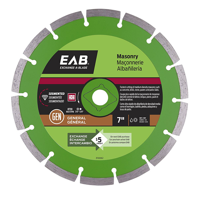 EAB Green Series Diamond Circular Blade - Alloy Steel - 7-in Dia - 5/8-7/8-in Arbour