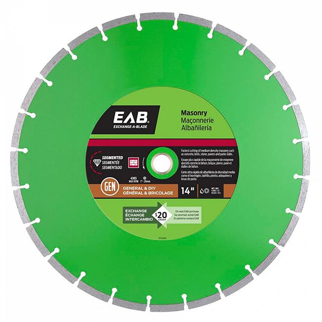 EAB Green Series Diamond Masonry Circular Blade - Alloy Steel - 14-in Dia - 5/8-7/8-in Arbour