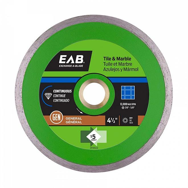 EAB Blade Continuous Diamond Circular Saw Blade - Green Series - 4 1/2-in dia