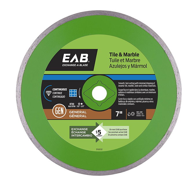 Exchange-A-Blade Continuous Diamond Blade - Green Series - 7""