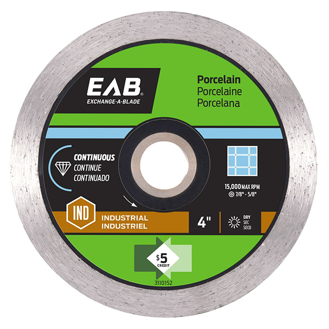 EAB Continuous Rim - Porcelain Tile Black Industrial Diamond Blade - Recyclable Exchangeable - 4-in dia
