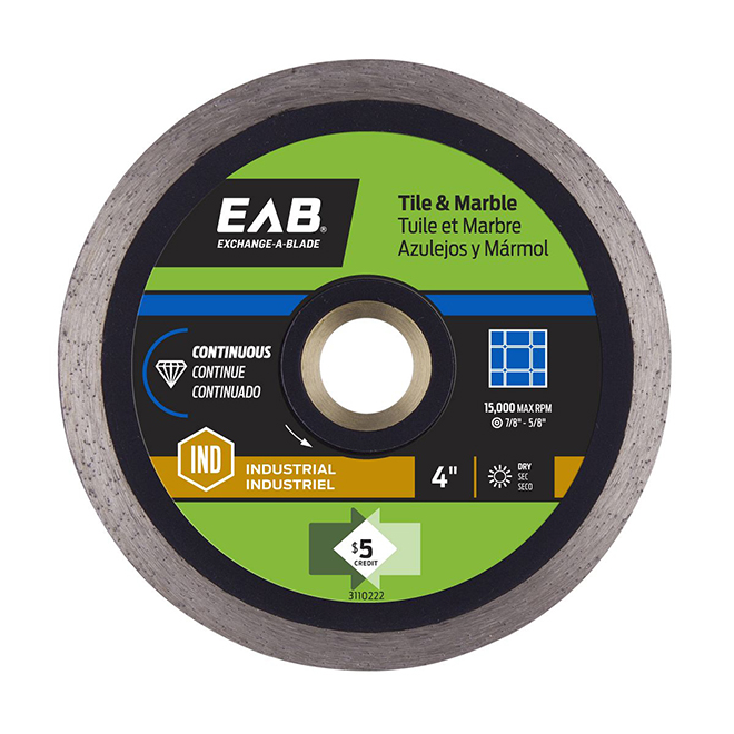 EAB Continuous Diamond Blade for Tile and Marble - Contractor Series - 4-in dia
