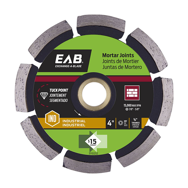 EAB - Specialty Tuck Point Mortar Joints Industrial diamond Blade - Recyclable Exchangeable - Black - 4-in