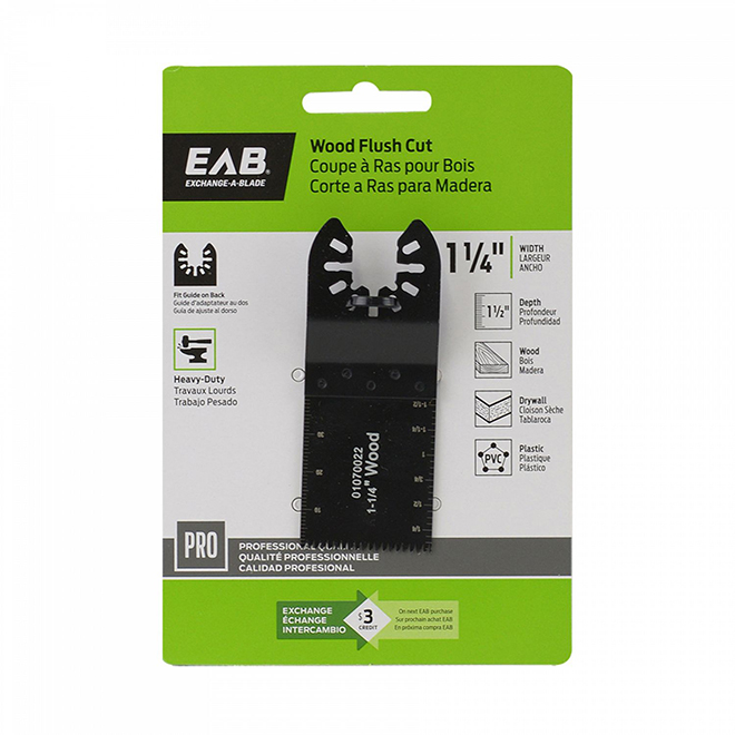 "EAB Tool HCS Flush Cut Blade for Wood - Professional Oscillating Accessory - 1 1/4"" - Exchangeable"