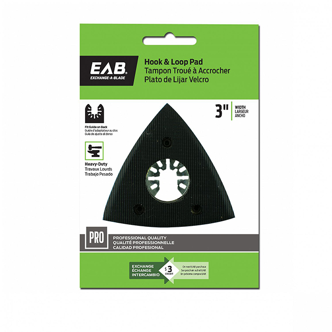 """EAB Tool Hook and Loop Pad Professional Oscillating Accessory - 3"""" - Exchangeable"""