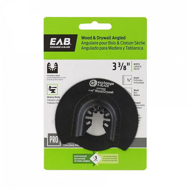 "EAB Tool HCS Angled (Wood & Drywall) Professional Oscillating Accessory - 3 3/8"" - Exchangeable"