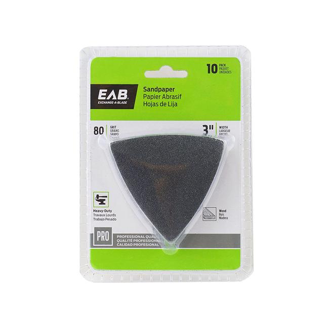 "EAB Tool Sandpaper Professional Oscillating Accessory - 3"" x 80 Grit - 10/Pack"