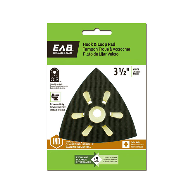 EAB Industrial Hook and Loop Pad - 3 1/2-in W - Triangular-Shaped - For Sanding