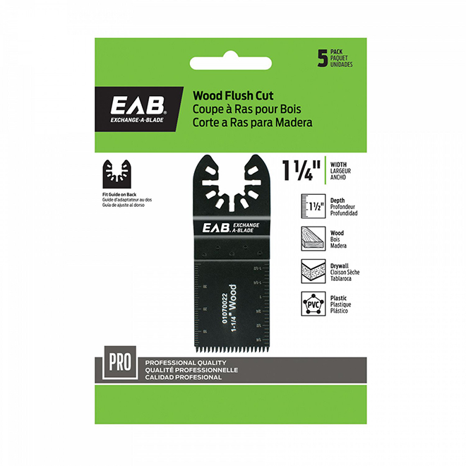 "Multi-Tool Wood Flush Cut Blade - 1 1/4""- 5-Pack - Industrial - Exchangeable"