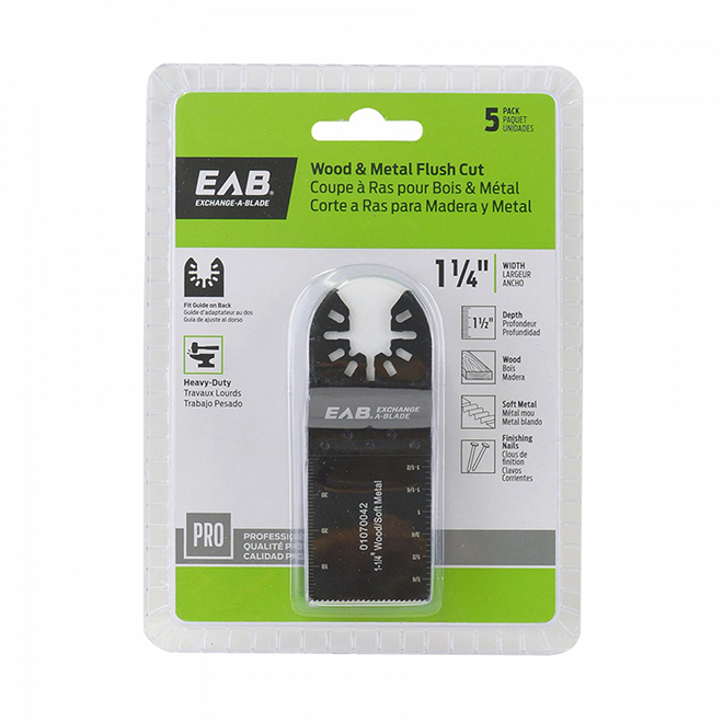 "Wood/Metal Flush Cut Blade - 1 1/4"" - 5-Pack - Industrial - Exchangeable"