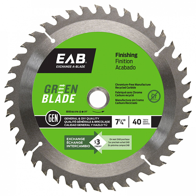 """""""Green Blade"""" Finishing Carbide Blade- 7/14 in. - 40 Teeth - Exchangeable"""