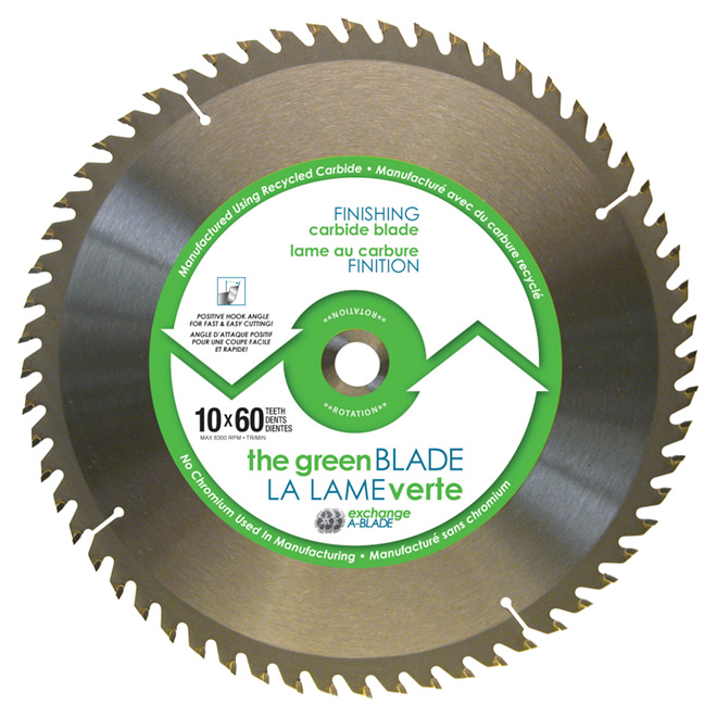 """""""Green"""" Finishing Blade Carbide Blade - 10 in. - 60 Teeth - Exchangeable"""