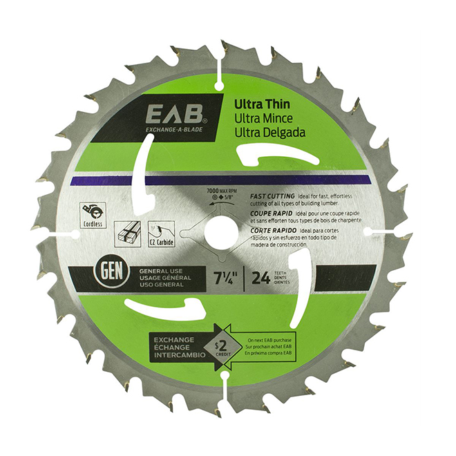 """""""Ultra-Thin"""" Saw Carbide Blade - 7 1/4 in. - 24 Teeth - Exchangeable"""